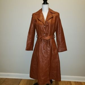 Vintage 1970's long leather trenchcoat brown